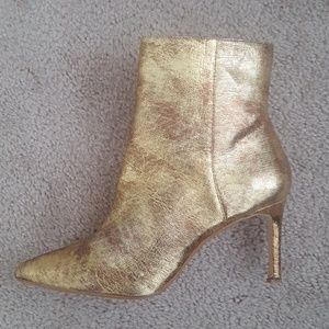 Zara Gold Leather Ankle Boots Booties Sz 39 USED
